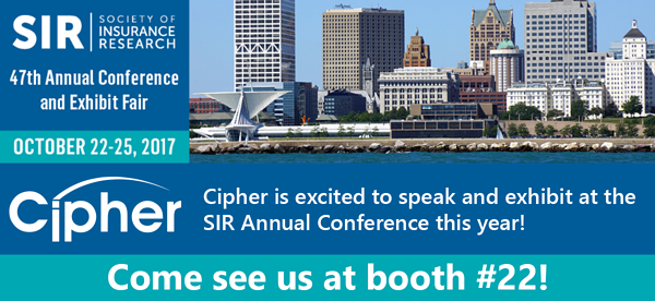 Cipher to speak at Society of Insurance Research Conference October 22 25