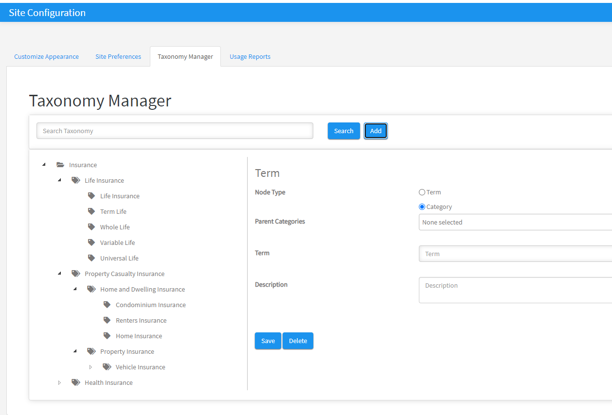 taxonomy manager